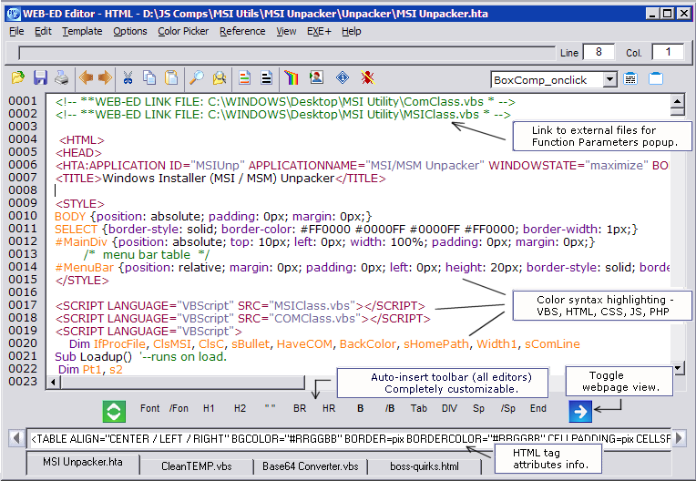 WEB-ED Webpage and Scripting Editor - JSWare
